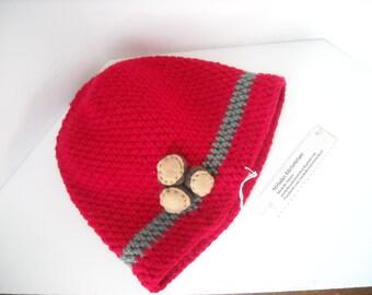 OSU - Ohio State Buckeyes Inspired Adult Hat with Felt Buckeyes - Crochet