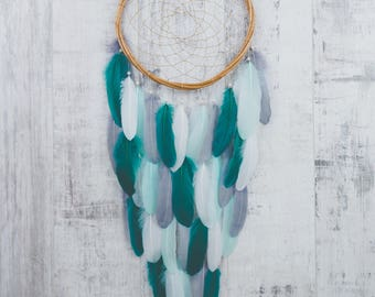 Teal and Gray Feather Dream Catcher - Color Choice - Boho Girls Boys DreamCatcher Wall Hanging Baby Tribal Crib Baby Feathers New Baby