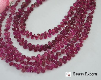 Finest AAA Quality Pink Tourmaline Drops Faceted,3x5 to 6x4 mm ,7.5 inch Strand