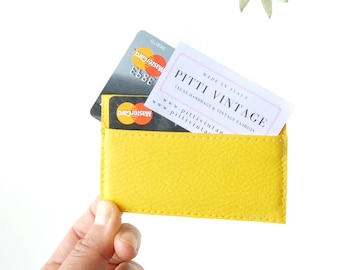 Yellow credit card sleeve, thin wallet, slim wallet women, vegan credit card case, credit card holder leather, yellow wallet, card sleeves