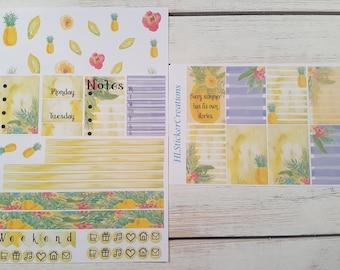 Happy Planner June Weekly Kit, June, Pineapple, Summer, Tropical