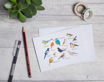 Cute blank card, illustrated birds, A6 card, ornithology, hand drawn illustration