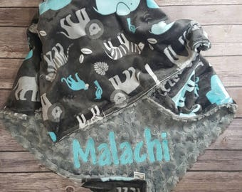 Minky Baby Blanket,Jungle Tales Topaz,Gray Minky Swirl,Personalized Blanket, Newborn Blanket, Baby Boy Blanket, Zoo Animals, Animal Bedding