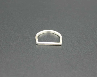 Flat Top Square Ring Sterling Silver, Silver Flat Top Ring, Square Flat Top Ring, D Ring, Geometrical Ring, Flat Top Ring