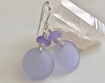 Light Purple Cultured Sea Glass Earrings   Sterling Silver Earrings