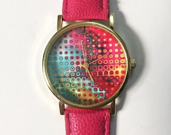 Watches for Women, Teens, Neon Print, Teen Jewelry, Gift for Her, Womens Watch, Wrist Watch, Ladies Watch, Leather Watch, Freeforme, Unique