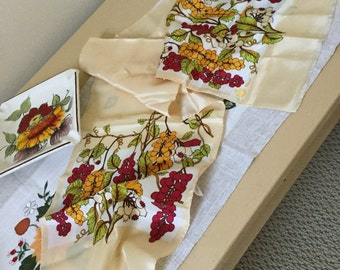 Vintage Paoli Acetate Neck Scarf-Satiny Ivory with Bold Red Yellow Green Grapes/Fruits Design