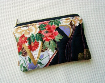 Zipper pouch, quilted pouch, patchwork pouch, quilted zipper pouch, recycled, Japanese fabric, unique pouch, cosmetic bag, zip pouch,