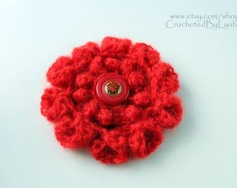 Crochet brooch-Red flower brooch-Crochet jewellery-Brooch-Handmade crochet flower-3d flower-Crochet gift-Hand crocheted item-Gift for women