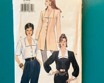 Vintage Vogue 8912 Long Sleeve Blouse Chelsea Collar Tunic Button Front 12 14 16 Sewing Pattern Uncut