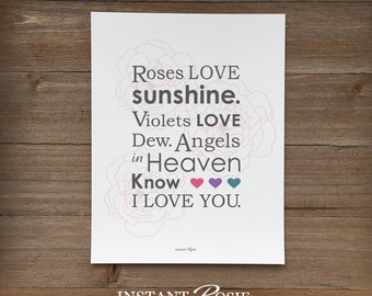Roses Love Sunshine (from the song Down in the Valley) - Instant download