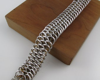 Brass and Aluminum Dragonscale Chainmaille Bracelet, Chainmail Bracelet, Chain Bracelet