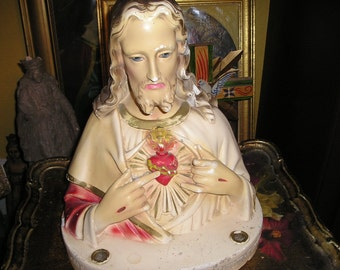 Vintage Home Altar Religious Devotional Prayer Statue, Bust Jesus/Christ Sacred Heart Candle Holder Altar Icon.
