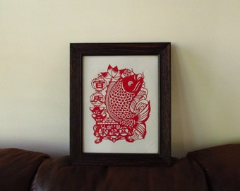"""Framed Artwork of Chinese Paper-cut Art, Koi Fish Pattern, with Wood Fame (14"""" x 17"""")"""