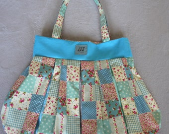 Canvas tote bag, Vintage pleated tote bag, shopping tote bag