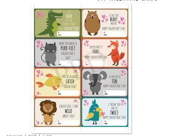 Animals DIY Valentine Cards, Printable Valentine Cards, Cute Animal Printable, Valentine Card, Instant Download, DIY Valentine Digital Files