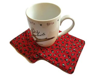 Christmas Fabric Coasters, Set of 4 Drink Coasters, Balls on Red
