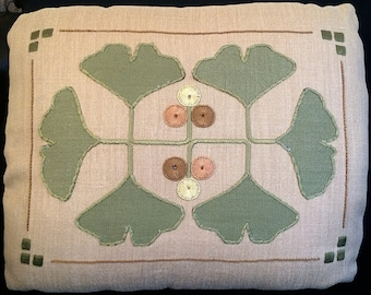 Arts and Crafts, Craftsman, Gingko Pillow Embroidery Kit