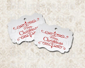 Christmas Tags Merry Christmas Gift Tags House Warming Party Favor Treat Bag Tags Vintage Style TC027