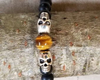Skull head and Tiger Eye bracelet