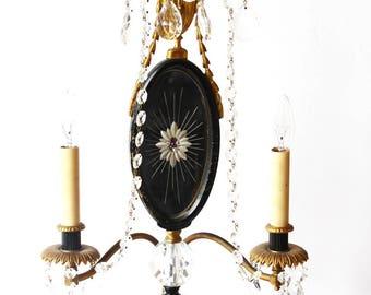 Antique Bronze Ormolu and Crystal Candelabra Girandole Lamp Table Chandelier