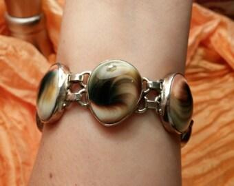 Unique Vintage Shiva Eye Cabochon Sterling Silver Link Bracelet