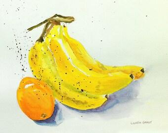 "Kitchen art watercolor fine art print banana fruit still life, digital print of original watercolor painting 9"" x 12"" Bananas and Orange"