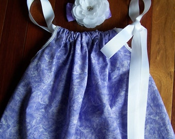"In Stock Ready to Ship  Size 2T ""Lavender Marble"" Baby, Girl, Toddler, Pillowcase Dress w/Matching Headband"