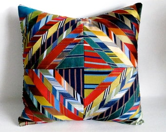 Striped Pillow Cover Decorative Pillow Cover Necktie Pillow Cover Home Decor Art Decor Handmade Repurposed One of a Kind Pillow