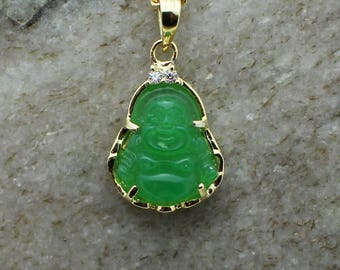 Custom 3d jade 14k white gold laughing buddha pendant charm custom 3d jade 14k yellow gold laughing buddha pendant charm with 004ct natural diamonds aloadofball Image collections