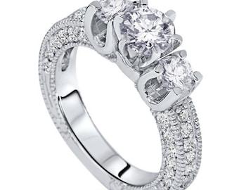 Vintage 2.00CT Diamond Engagement 3-Stone Ring 14K White Gold