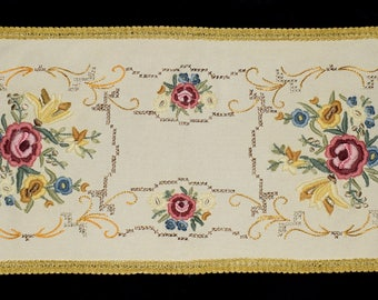 Hungarian Vintage Hand Made Floral Embroidered Wool Runner Tablecloth from the 60s