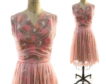 50s Chiffon Cocktail Dress / Vintage 1950s Pink Party Dress with Printed Cotton Lining / Handmade Prom Semi Formal One of a Kind Knee Length