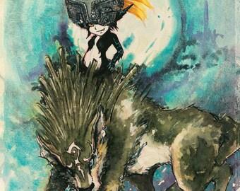 Legend of Zelda: Twilight Princess (12x16), wolf link, midna, video game,
