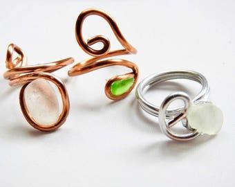 Hawaii Sea Glass Ring, genuine Seaglass Ring, Hawaiian Seaglass White Beachglass Ring, Sea Glass Jewelry, Lucky Sea Glass, Bridesmaid Gift