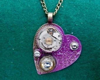 Steampunk Purple 'Heart' Pendant