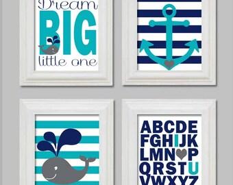 4 Art Prints, Baby Boy Nursery Decor, Whale Nursery, Nautical Theme Nursery, Baby Boy Room