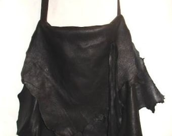 """Designer Leather Bag, Artisan Crossover Purse Ruffle Flap Extreme Natural Deerskin Custom  """"THE COUGAR"""" Handmade by Debbie Leather"""