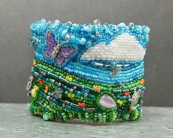 Embroidered, Cuff Bracelet, Seed Bead Bracelet, Beaded Bracelet, Bead Embroidery, Spring Bracelet