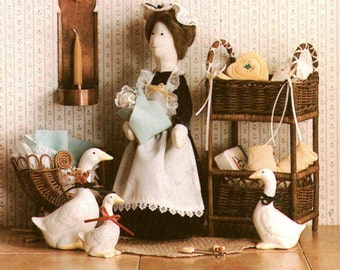 """Home Folk 846 Sewing Pattern Stuffed Toy - Nanny Goose 12"""" tall and baby"""