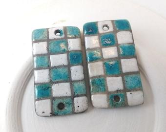 Raku Fired Ceramic Beads,Ceramic Pendant Connectors,Checkered Design,Handmade Lightweight,Rustic,earring components,Ceramic Beads,Geometric