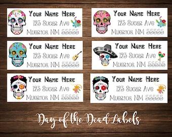 Day of the Dead / Dia de los Muertos / Sugar Skulls Address Labels, Mailing Labels