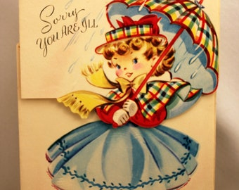 Girl Get Well Card Vintage Die Cut Unsigned 1950s