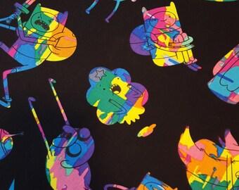 Cotton fabric ADVENTURE TIME Finn Jake Marceline Princess Bubblegum Ice King Lumpy Space Princess 1 Yd Fabric for Creative Genius Projects