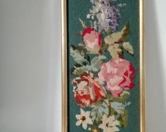 Vintage French Cross Stitch, Floral Cross Stitch Art, Cross Stitch Decor, Wall Hanging Art