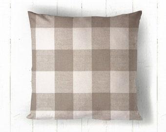 Neutral Buffalo Plaid Pillow Cover - Tan & White Check Pillow, Ecru Buffalo Check, Fall Pillow, Farmhouse Pillow, 16 x 16, 18 x 18