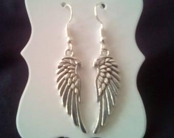 Tibetan Silver Angel Wings Drop Earrings With Silver Plated Hooks