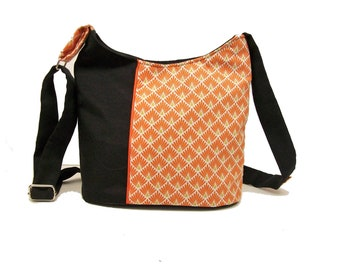 bucket bag black and orange , crossobody bag in canvas and geometric fabric , zipper shoulder bag , black handbag , women gift