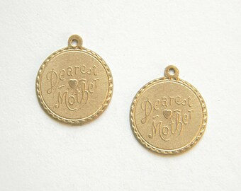 Raw Brass Dearest Mother Charm, Bracelet Charm, Stamping 20m x 22mm - 2 pcs. (r277)