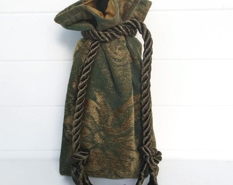 Wine Bag Gift Bag Gold and Green Chenille